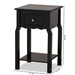 Baxton Studio Hailey Classic Traditional and Transitional Black Finished Wood 1-Drawer Nightstand - SR1703016-Black-NS