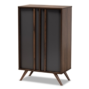 Baxton Studio Naoki Modern and Contemporary Two-Tone Grey and Walnut Finished Wood 2-Door Shoe Cabinet Baxton Studio restaurant furniture, hotel furniture, commercial furniture, wholesale entryway furniture, wholesale shoe cabinet, classic shoe cabinet