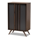 Baxton Studio Naoki Modern and Contemporary Two-Tone Grey and Walnut Finished Wood 2-Door Shoe Cabinet
