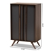 Baxton Studio Naoki Modern and Contemporary Two-Tone Grey and Walnut Finished Wood 2-Door Shoe Cabinet - LV15SC15150-Columbia/Dark Grey-Shoe Cabinet