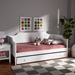 Baxton Studio Alya Classic Traditional Farmhouse White Finished Wood Twin Size Daybed with Roll-Out Trundle Bed - MG0016-1-White-Daybed with Trundle