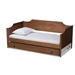 Baxton Studio Alya Classic Traditional Farmhouse Walnut Brown Finished Wood Twin Size Daybed with Roll-Out Trundle Bed