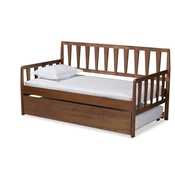 Baxton Studio Midori Modern and Contemporary Transitional Walnut Brown Finished Wood Twin Size Daybed with Roll-Out Trundle Bed Baxton Studio restaurant furniture, hotel furniture, commercial furniture, wholesale bedroom furniture, wholesale twin, classic twin