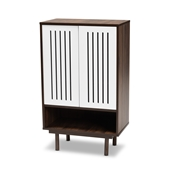 Baxton Studio Meike Mid-Century Modern Two-Tone Walnut Brown and White Finished Wood 2-Door Shoe Cabinet Baxton Studio restaurant furniture, hotel furniture, commercial furniture, wholesale entryway furniture, wholesale shoe cabinet, classic shoe cabinet