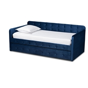 Baxton Studio Jona Modern and Contemporary Transitional Navy Blue Velvet Fabric Upholstered and Button Tufted Twin Size Daybed with Trundle Baxton Studio restaurant furniture, hotel furniture, commercial furniture, wholesale bedroom furniture, wholesale twin, classic twin
