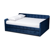 Baxton Studio Jona Modern and Contemporary Transitional Navy Blue Velvet Fabric Upholstered and Button Tufted Queen Size Daybed with Trundle Baxton Studio restaurant furniture, hotel furniture, commercial furniture, wholesale bedroom furniture, wholesale queen, classic queen