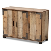 Baxton Studio Cyrille Modern and Contemporary Farmhouse Rustic Finished Wood 3-Door Shoe Cabinet Baxton Studio restaurant furniture, hotel furniture, commercial furniture, wholesale entryway furniture, wholesale shoe cabinet, classic shoe cabinet