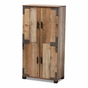 Baxton Studio Cyrille Modern and Contemporary Farmhouse Rustic Finished Wood 4-Door Shoe Cabinet Baxton Studio restaurant furniture, hotel furniture, commercial furniture, wholesale entryway furniture, wholesale shoe cabinet, classic shoe cabinet