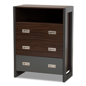 Baxton Studio Elliot Modern and Contemporary Two-Tone Walnut and Grey Finished Wood 3-Drawer Chest Baxton Studio restaurant furniture, hotel furniture, commercial furniture, wholesale bedroom furniture, wholesale chest, classic chest