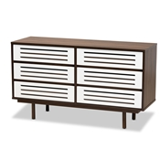 Baxton Studio Meike Mid-Century Modern Two-Tone Walnut Brown and White Finished Wood 6-Drawer Dresser Baxton Studio restaurant furniture, hotel furniture, commercial furniture, wholesale bedroom furniture, wholesale dresser, classic dresser