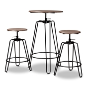 Baxton Studio Veera Vintage Industrial Rustic Walnut Finished Wood and Black Metal 3-Piece Height Adjustable Bar Pub Set Baxton Studio restaurant furniture, hotel furniture, commercial furniture, wholesale bar furniture, wholesale pub sets, classic pub sets