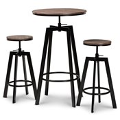 Baxton Studio Maritta Vintage Industrial Rustic Walnut Finished Wood and Black Metal 3-Piece Height Adjustable Bar Pub Set Baxton Studio restaurant furniture, hotel furniture, commercial furniture, wholesale bar furniture, wholesale pub sets, classic pub sets