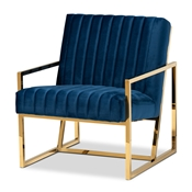 Baxton Studio Janelle Luxe and Glam Royal Blue Velvet Fabric Upholstered and Gold Finished Living Room Accent Chair Baxton Studio restaurant furniture, hotel furniture, commercial furniture, wholesale living room furniture, wholesale accent chairs, classic accent chairs