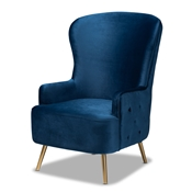 Baxton Studio Melissa Luxe and Glam Royal Blue Velvet Fabric Upholstered and Gold Finished Living Room Accent Chair Baxton Studio restaurant furniture, hotel furniture, commercial furniture, wholesale living room furniture, wholesale accent chairs, classic accent chairs