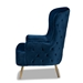 Baxton Studio Melissa Luxe and Glam Royal Blue Velvet Fabric Upholstered and Gold Finished Living Room Accent Chair - TSF-6692-Royal Blue/Gold-CC