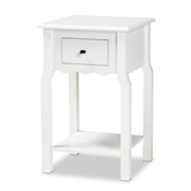Baxton Studio Hailey Classic Traditional and Transitional White Finished Wood 1-Drawer Nightstand Baxton Studio restaurant furniture, hotel furniture, commercial furniture, wholesale bedroom furniture, wholesale night stand, classic night stand