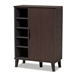 Baxton Studio Idina Mid-Century Modern Two-Tone Dark Brown and Grey Finished Wood 1-Door Shoe Cabinet - SESC16104-Modi Wenge-Shoe Cabinet