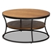 Baxton Studio Albany Vintage Rustic Industrial Walnut Brown Finished Wood and Black Finished Metal 1-Shelf Coffee Table