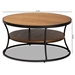 Baxton Studio Albany Vintage Rustic Industrial Walnut Brown Finished Wood and Black Finished Metal 1-Shelf Coffee Table - YLX-2780-CT