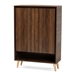 Baxton Studio Landen Mid-Century Modern Walnut Brown and Gold Finished Wood 2-Door Entryway Shoe storage Cabinet - LV10SC10151WI-Columbia/Gold-Shoe Cabinet