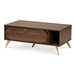 Baxton Studio Edel Mid-Century Modern Walnut Brown and Gold Finished Wood Coffee Table