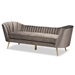 Baxton Studio Kailyn Glam and Luxe Grey Velvet Fabric Upholstered and Gold Finished Sofa - TSF-6719-3-Grey Velvet/Gold-SF