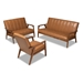 Baxton Studio Nikko Mid-century Modern Tan Faux Leather Upholstered and Walnut Brown finished Wood 3-Piece Living Room Set