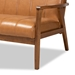 Baxton Studio Nikko Mid-century Modern Tan Faux Leather Upholstered and Walnut Brown finished Wood 3-Piece Living Room Set - BBT8011A2-Tan 3PC Set