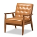 Baxton Studio Sorrento Mid-Century Modern Tan Faux Leather Upholstered and Walnut Brown Finished Wood Lounge Chair