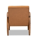 Baxton Studio Sorrento Mid-Century Modern Tan Faux Leather Upholstered and Walnut Brown Finished Wood Lounge Chair - BBT8013-Tan Chair