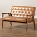 Baxton Studio Sorrento Mid-Century Modern Tan Faux Leather Upholstered and Walnut Brown Finished Wood Loveseat - BBT8013-Tan Loveseat