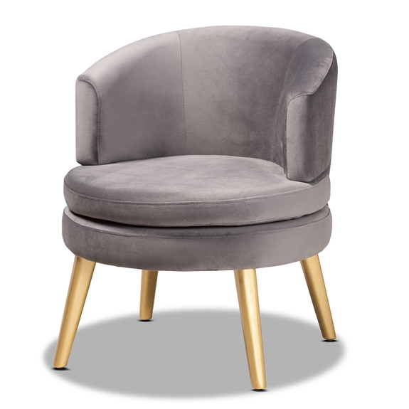 Baxton Studio Baptiste Glam and Luxe Grey Velvet Fabric Upholstered and Gold Finished Wood Accent Chair