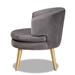 Baxton Studio Baptiste Glam and Luxe Grey Velvet Fabric Upholstered and Gold Finished Wood Accent Chair - WS-14056-Grey Velvet/Gold-CC