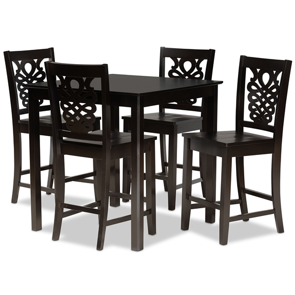 Baxton Studio Gervais Modern and Contemporary Transitional Dark Brown Finished Wood 5-Piece Pub Set