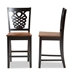 Baxton Studio Gervais Modern and Contemporary Transitional Two-Tone Dark Brown and Walnut Brown Finished Wood 2-Piece Counter Stool Set - RH339P-Dark Brown/Walnut Scoop Seat-PC