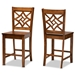 Baxton Studio Nicolette Modern and Contemporary Transitional Walnut Brown Finished Wood 2-Piece Counter Stool Set