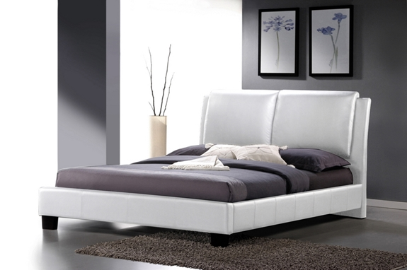 Sabrina White Modern Bed With Overstuffed Headboard King