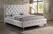 Baxton Studio Stella Crystal Tufted White Modern Bed with Upholstered Headboard - King Size - BBT6220-White-King