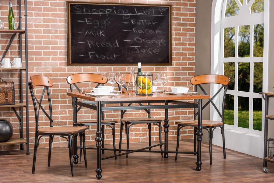 ... Baxton Studio Broxburn Light Brown Wood U0026 Metal 5 Piece Dining Set    CDC222 5PC