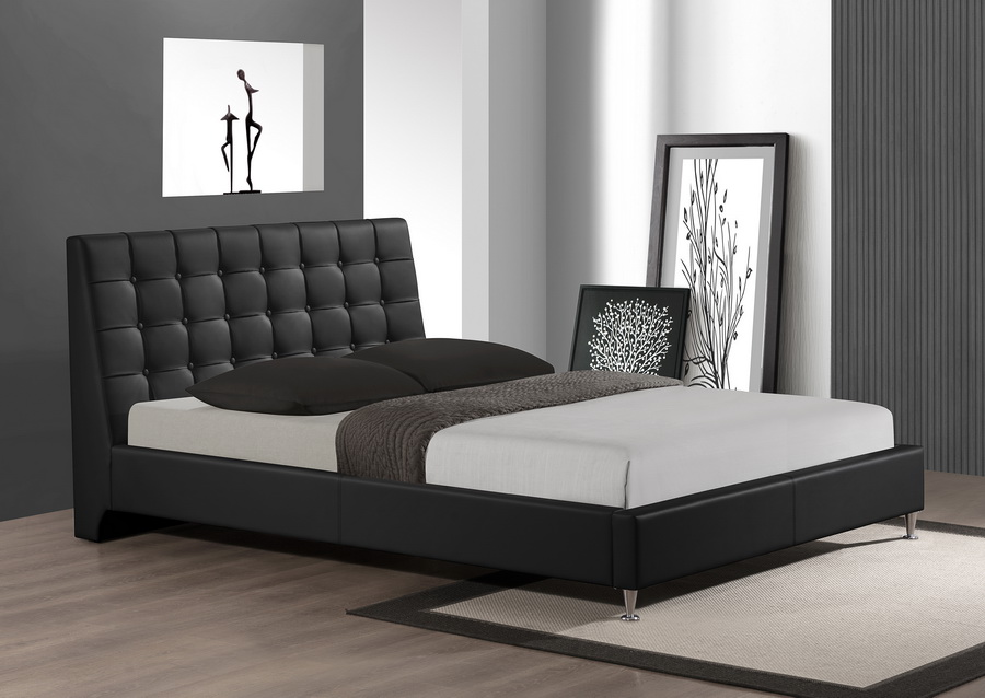Baxton Studio Zeller Black Modern Bed With Upholstered Headboard Queen Size Cf8283