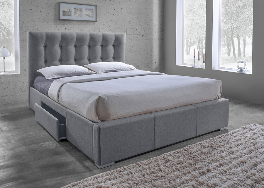 Baxton Studio Sarter Contemporary Grid Tufted Grey Fabric Upholstered Storage King Size Bed With