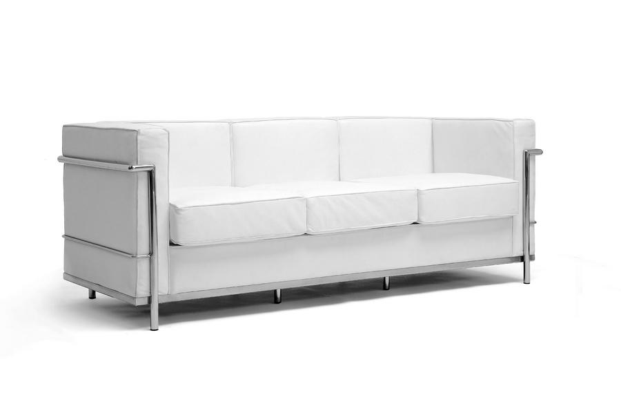 ... Baxton Studio White Le Corbusier Petite Sofa   610 Sofa White ...
