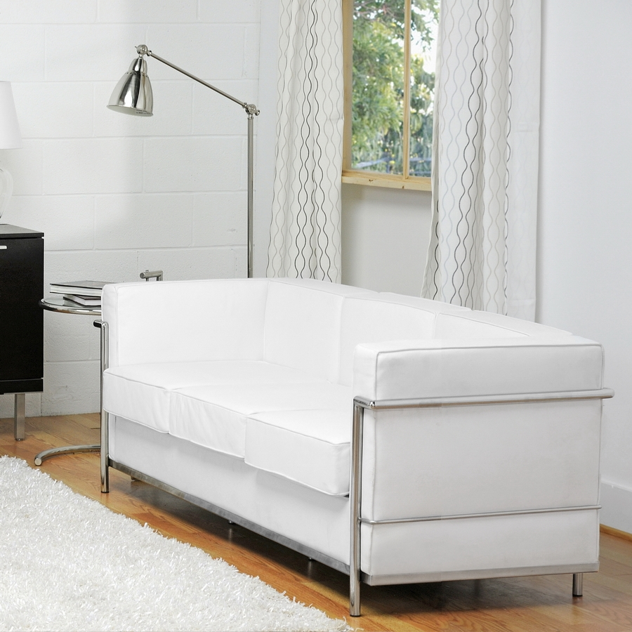 ... Baxton Studio White Le Corbusier Petite Sofa   610 Sofa White