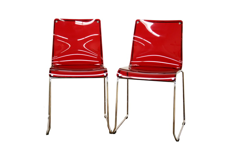 Baxton Studio Lino Transpa Red Acrylic Accent Chair Dining Set Of 2