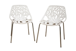 Baxton Studio Birch Sapling White Plastic Accent / Dining Chair (Set of 2) Birch Sapling White Plastic Accent / Dining Chair (Set of 2) wholesale, wholesale furniture, restaurant furniture, hotel furniture, commercial furniture