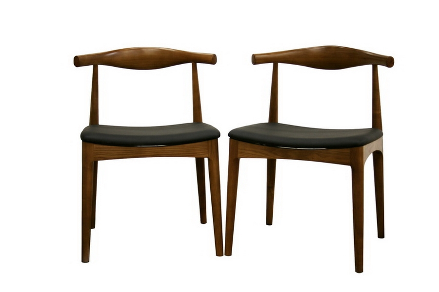 Baxton Studio Sonore Solid Wood Mid Century Style Accent Chair Dining Chair  Set Of 2 ...
