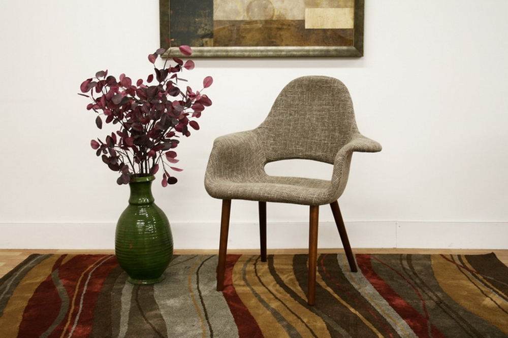 Baxton Studio Forza Taupe Twill Mid Century Style Accent Chair Set Of 2