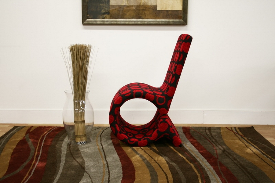 ... Baxton Studio Forte Red And Black Patterned Fabric Accent Chair    DC 88047 ...