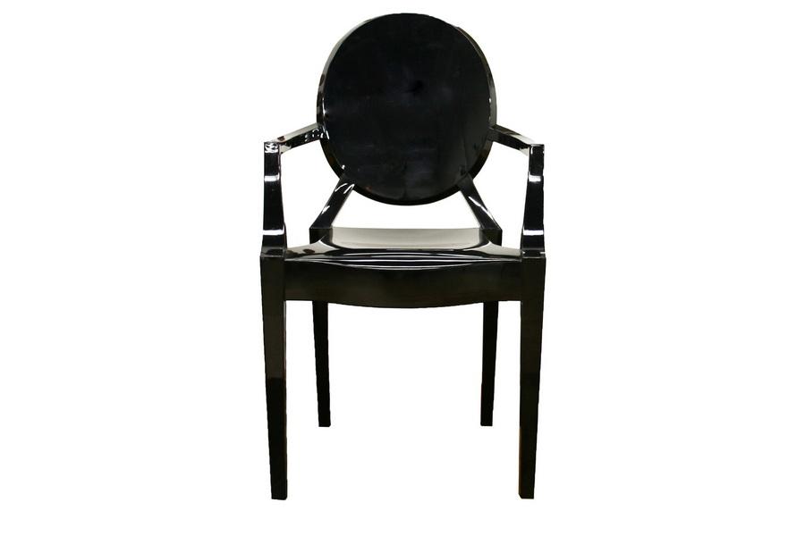 Superbe Baxton Studio Dymas Modern Acrylic Black Armed Ghost Chair   PC 449 Black  ...