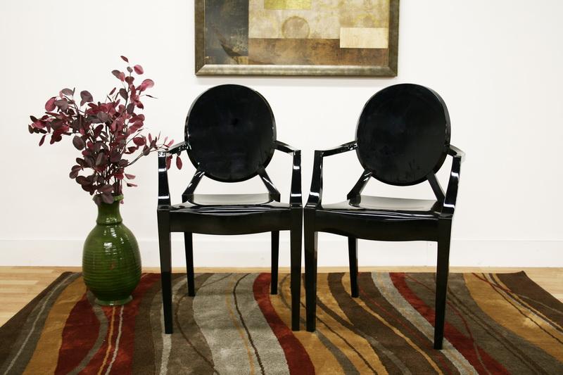 ... Baxton Studio Dymas Modern Acrylic Black Armed Ghost Chair   PC 449  Black ...